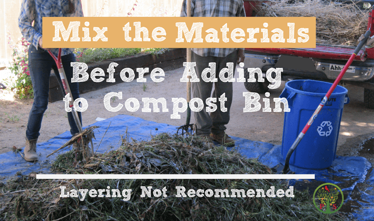 starting a compost pile - mix materials first